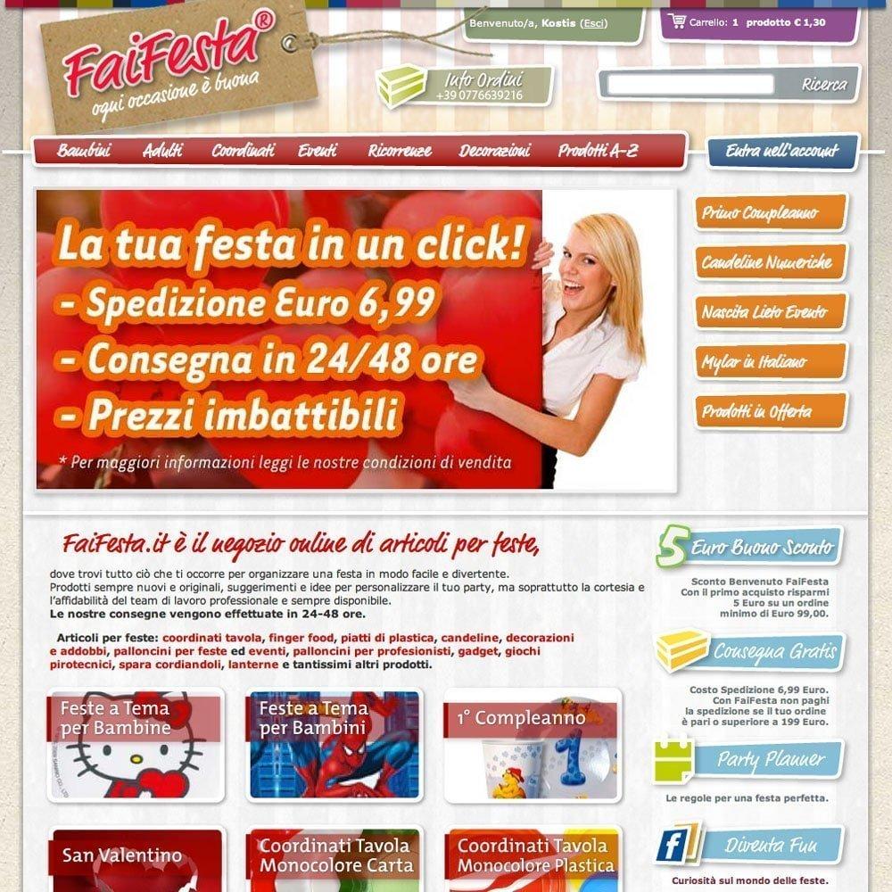 Realizzazione sito e-commerce Faifesta. Indicizzazione motori di ricerca