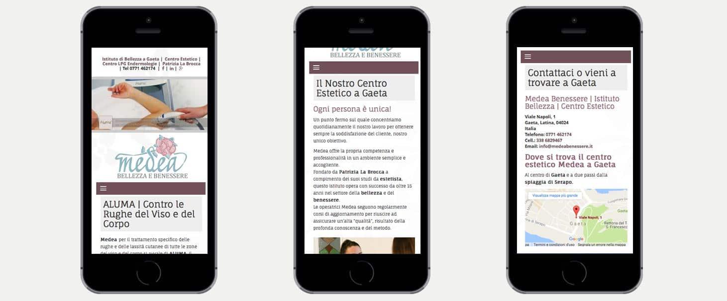 Realizzazione sito web centro estetica Medea gaeta Latina Frosinone