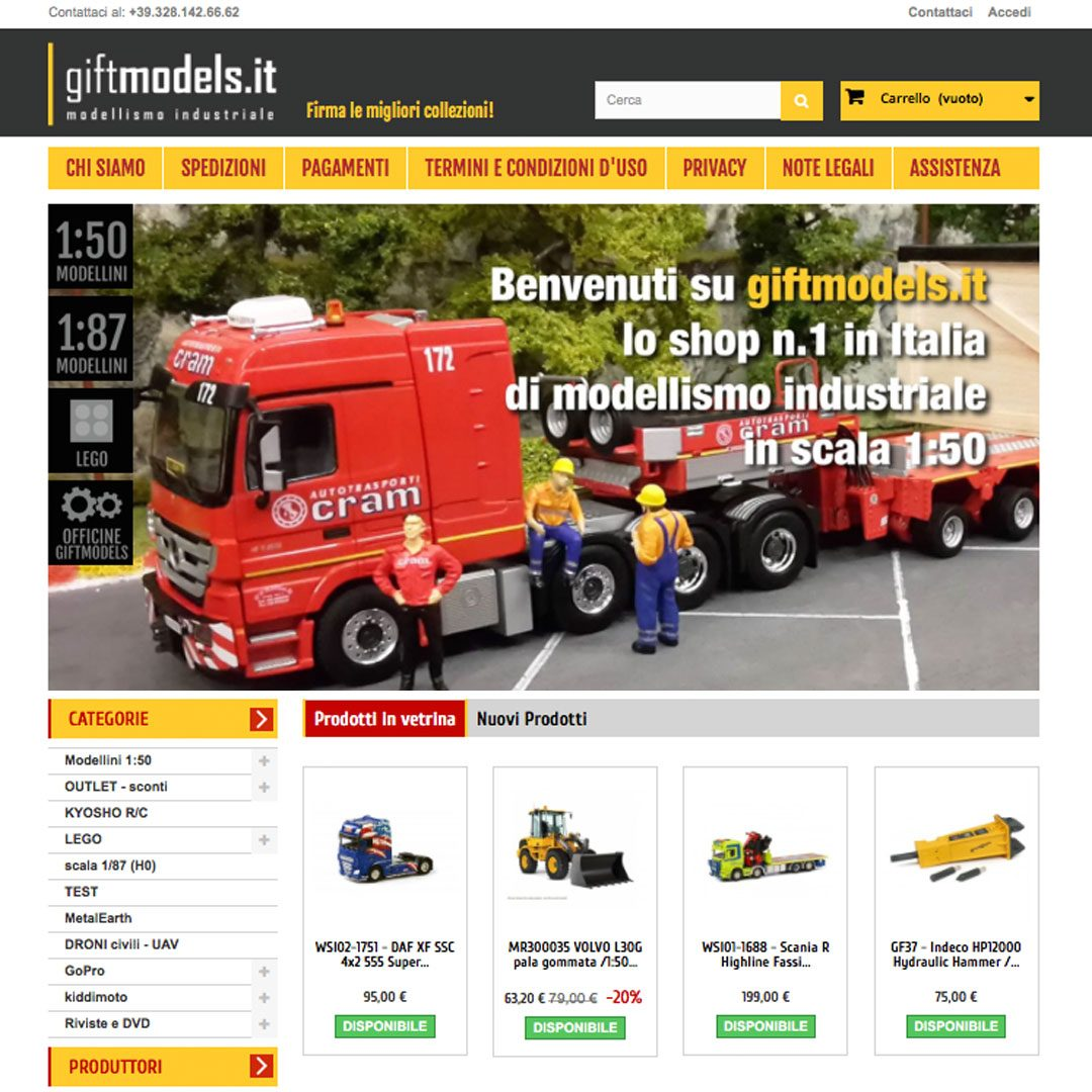 realizzazione sito ecommerce giftmodels