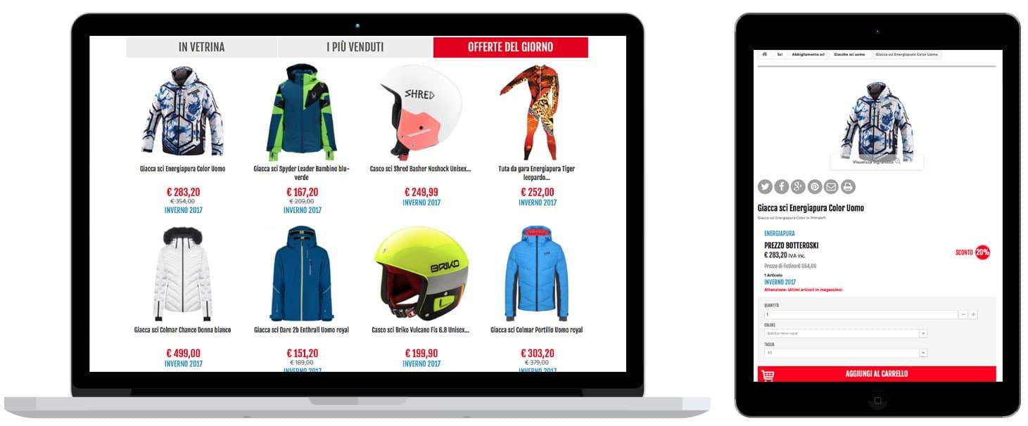 realizzazione siti eccomerce BotteroSki Abbigliamento sportivo