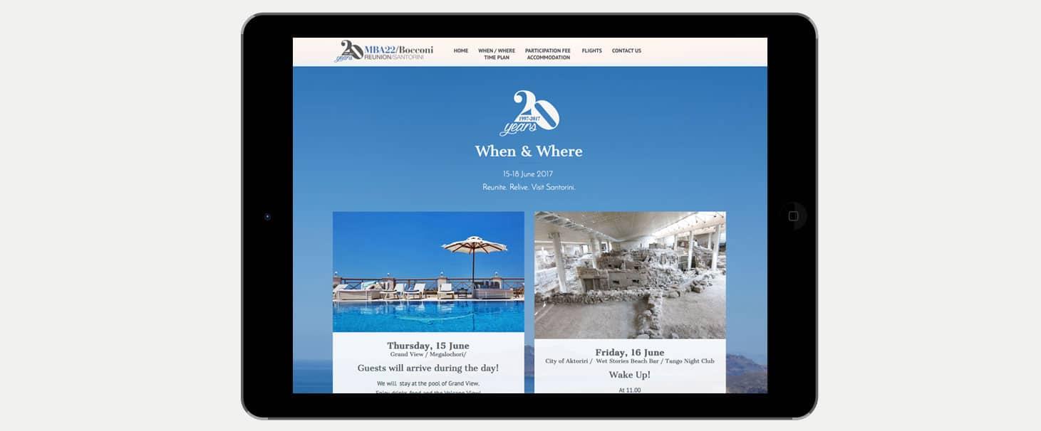 Realizzazione sito web evento mba22 bocconi reunion milano santorini