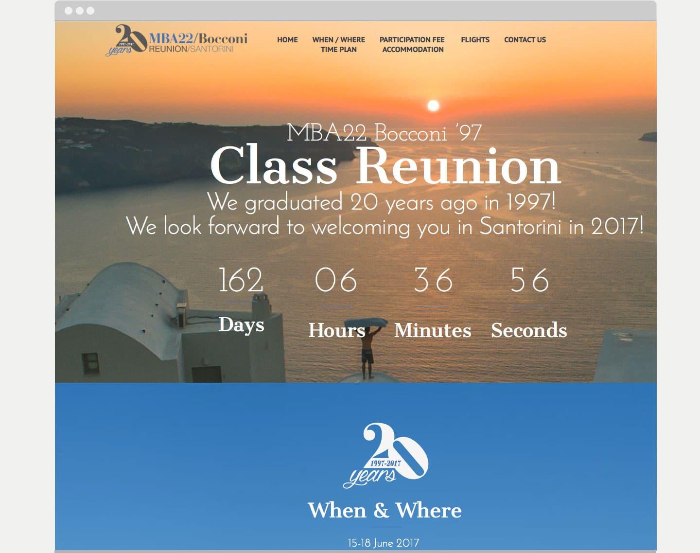 Realizzazione sito web evento. MBA22 bocconi reunion Milano Santorini